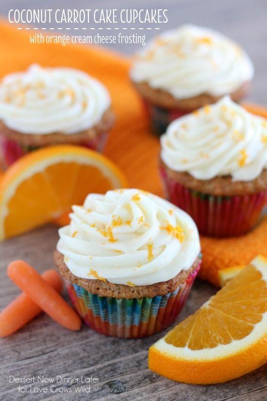 Coconut Carrot Cake Cupcakes on MyRecipeMagic.com #coconut #carrotcake #cupcakes #orange #creamcheesefrosting