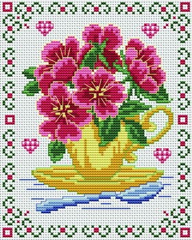 Love & Bouquets. This pattern is from a site that has really easy to download embroidery patterns for free.                                                  It's http://cross-stitchers-club.com/?code_avantage=uucqid.   Plus, if you click on this link, you'll automatically receive a gift when you subscribe. I use this site all the time; there are hundreds of all different types of patterns, and there are new patterns added everyday. It's really worth a look.