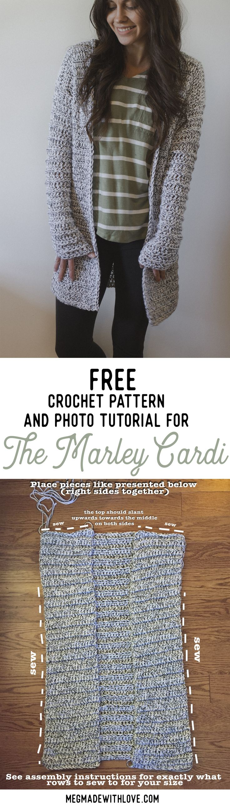 "Free Crochet Pattern for the Marley Cardi - A Long & Chunky Cardigan Sweater November 22, 2017/ Megan Shaimes <img src=""https://static1.squarespace.com/static/5885008d1e5b6c186557de4e/t/5a14fb34f9619afa6a8d891b/1511324505158/Free+Pattern+for+the+Marley+Cardi"" alt=""Free Pattern for the Marley Cardi"" />"