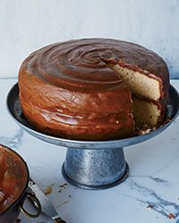 Try soaking this yellow cake - has lots of buttermilk! tender yellow cake is slathered with a fudge-like dark caramel frosting. (from my food and wine magazine, Edna Lewis but old MFK Fisher recipe)