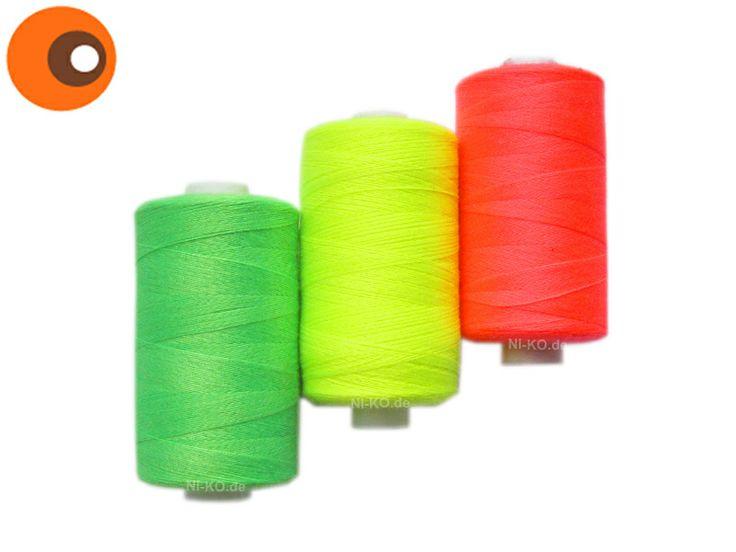 Neon-Nähgarn-Set, gelb, rot, grün, je 1000 Yard von NI-KO   ~  Beste Stücke. auf DaWanda.com