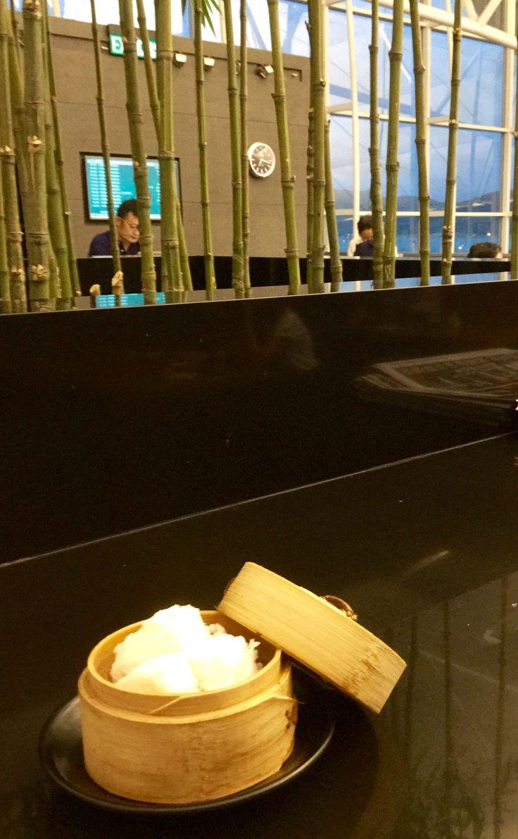 Steamed Chinese BBQ pork bao, Cathay Pacific Lounge, Hong Kong