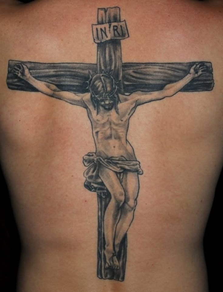 Black And Grey Religious Jesus On Wooden Cross Tattoo On Man Full Back