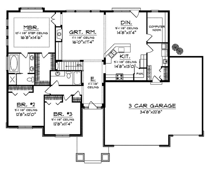 Ranch House Plan First Floor - 051D-0657   House Plans and More, 2032 sq. Ft., $225,000, has basement, get rid of computer rooms, expand DR with Built-ins