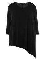 Womens DP Curve Plus Size Black Asymmetrical Hem T-Shirt- Black