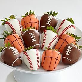 Sports ball strawberries: Desserts, Sports Parties, Sports Theme, Birthday Parties, Chocolate Covered Strawberries, Food, Parties Ideas, Chocolates Covers Strawberries, Baby Shower