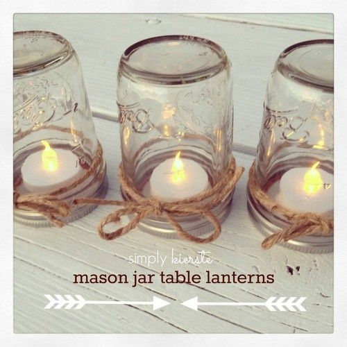 Upside down Mason Jar Table Lanterns.  Who would have thought!: Ideas, Jars Tables, Teas Lights, Mason Jars Lanterns, Mason Jar Lanterns, Diy, Mason Jars Wedding, Tables Lanterns, Table Lanterns