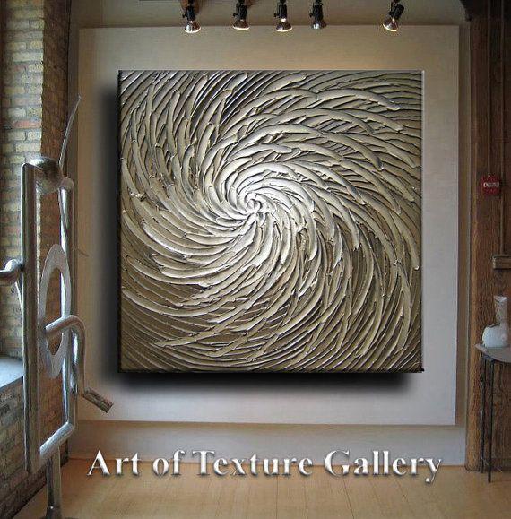 Enorme grande Original textura abstracto moderno blanco amarillento marrón gris plata Floral tallada escultura pintura al óleo cuchillo por Je Hlobik