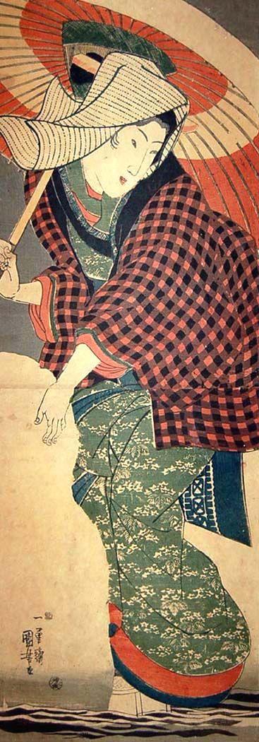 Woman making a snowman  Utagawa Kuniyoshi (1797 – 1861)   Mid-1840s   Vertical oban diptych