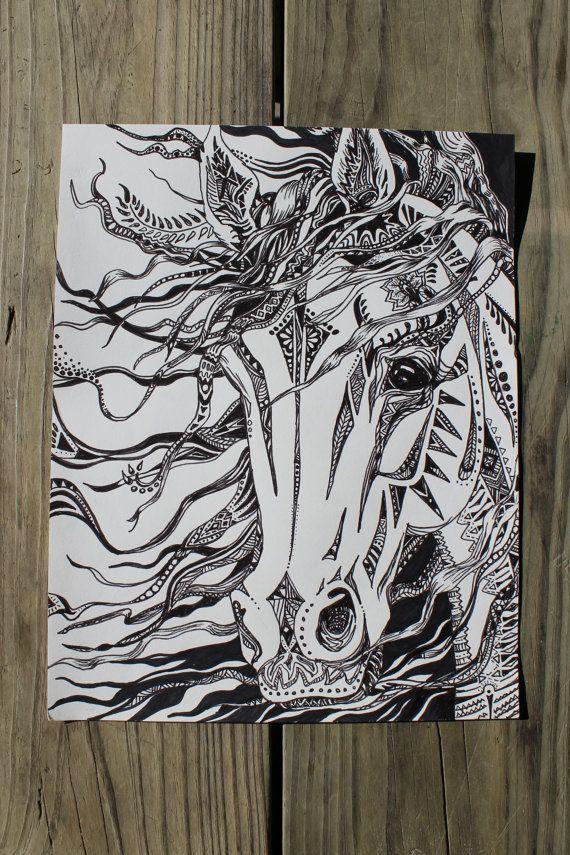 Abstract horse horse head wild horse horse drawings by artbyadren