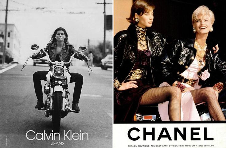 (L) Calvin Klein Ad, 1990s. (R) Chanel Ad with Christy Turlington and Linda Evangelista, Photo by Karl Lagerfeld, A/W 1991.