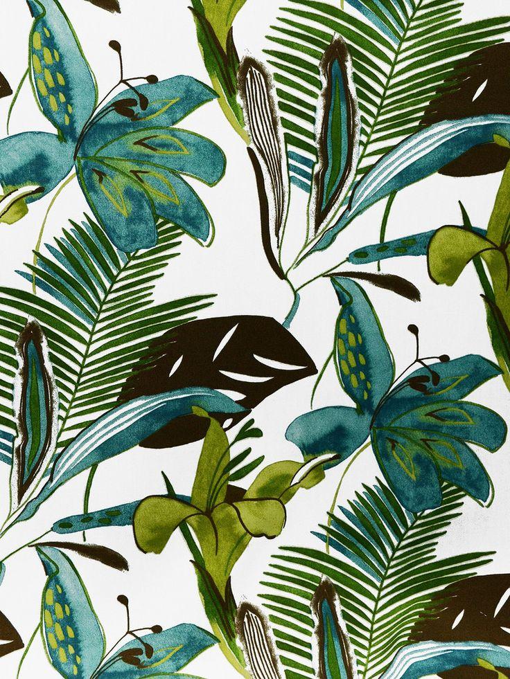 PALMA/PERLA PATINA (Outdoor) #blue-turquoise #botanical-floral #green #print-fabrics #tropical