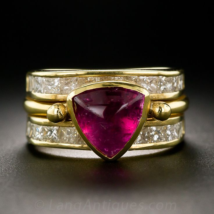 Contemporary Pink Tourmaline and Diamond Ring - 30-1-1724 - Lang Antiques