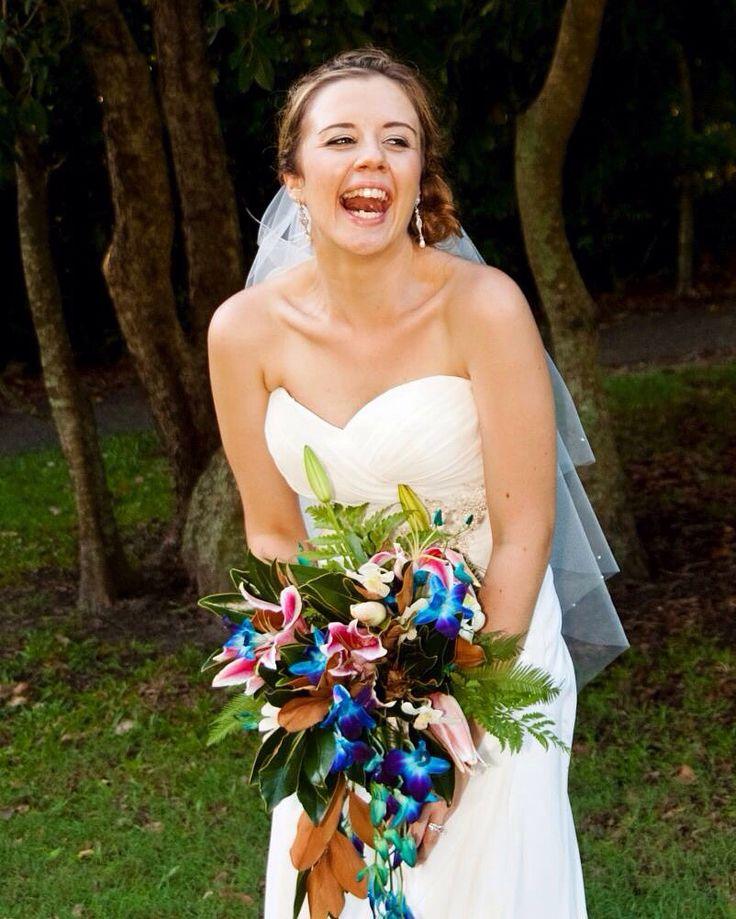 Such a happy Bride! Noosa Wedding in Qld Australia. Makeup by Cathy J Glamorous Makeup Artistry.  Sunshine coast based makeup artist. www.glamorousmkup.com.au