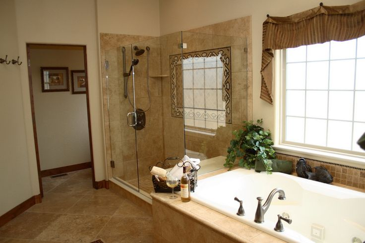 ... Shower Room Including Travertine Bathroom Floor And Black Shower Heads