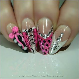 Hot Pink Corset Nails, Leopard Print, Polka Dots, 3D Bow, + Ornament... Cute but I would never have my nails shaped like that