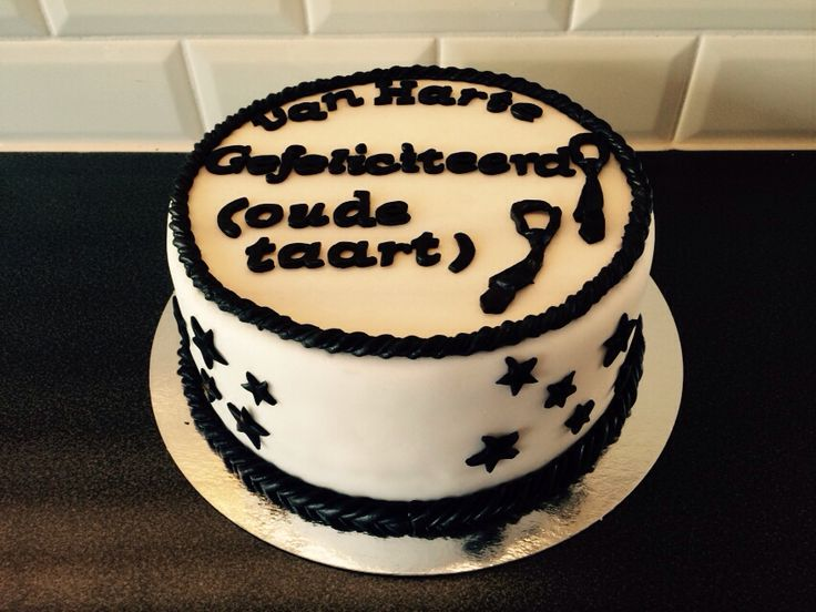 Black and white cake for men Zwart wit taart