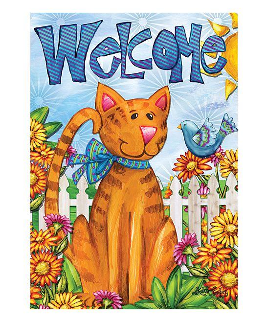 Cat 'Welcome' Outdoor Flag