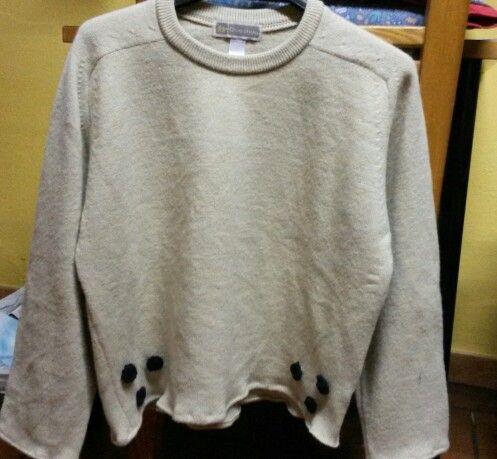 Refashion maglione uomo con inserti pois uncinetto.