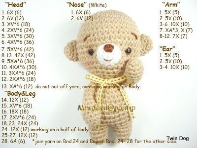 Amigurumi Bear - Tutorial ❥
