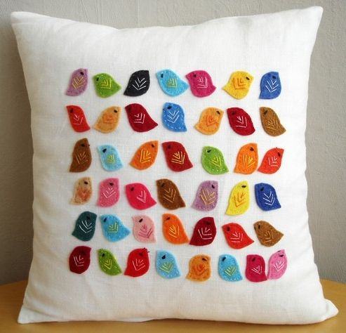 Cushion with felt applique