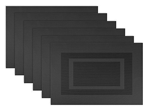"DII Everyday, Easy to Clean Indoor/Outdoor Woven Vinyl Double Border Placemats, 13x18"", Black - Set of 6"