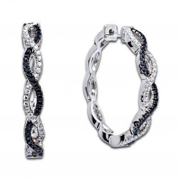 Серебряные серьги кольца в черно-белом стиле