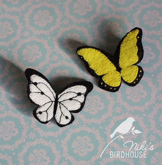 Butterfly pin brooch wool felt butterfly by NikisBirdhouse, $7.50