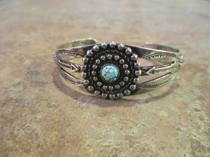 "OLD Fred Harvey ""Bell"" Navajo Sterling Silver Turquoise ARROW DESIGN Bracelet #BellTradingPost #SterlingSilverJewels"