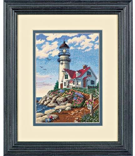 Dimensions Beacon at Rocky Point - Cross Stitch Kit. Standing tall against a brilliant sky, this guardian of the sea alerts sailors to the rocky shoreline. This