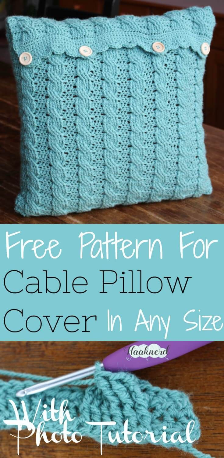 Free crochet pattern with photo tutorial for a cable pillow cover in any size   Haaknerd