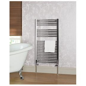 Unbranded Curved Chrome Towel Rail 1100mm x 600mm Enlarge Image      Different view     Different view  View product video for Curved Chrome Towel Rail 1100mm x 600mm View product video for Curved Chrome Towel Rail 1100mm x 600mm Curved Chrome Towel Rail 1100mm x 600mm  Product Code: 42673  View reviews (45) 4.6 out of 5  Curved ladder towel rail with a chrome finish. Supplied with wall fixings, plug and vent. Tested to EN 442-1.      5 Year Manufacturer's Guarantee     1297 Btu…