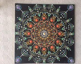 Dot mandala, canvas  ,dot mandala ,dot art, dotilism, mandala canvas, mandala painting