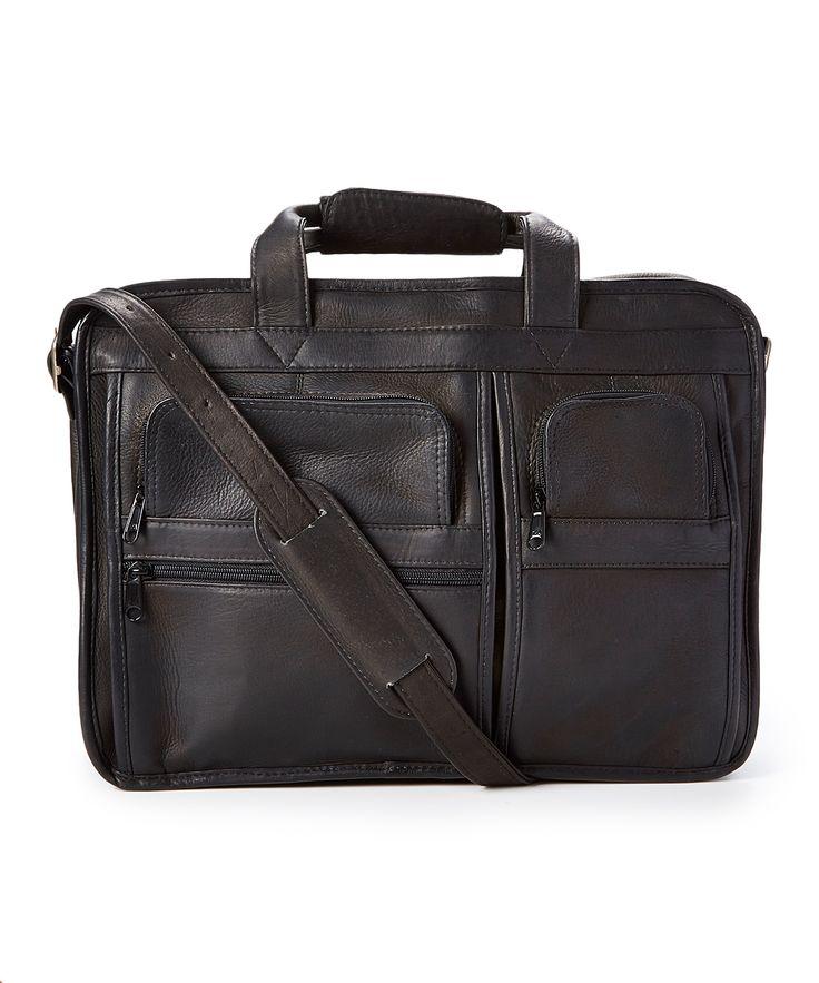 Black Pocket-Front Leather Briefcase