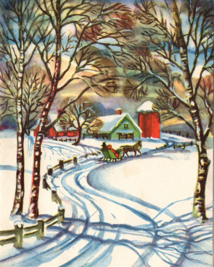 Through the trees - vintage Christmas image