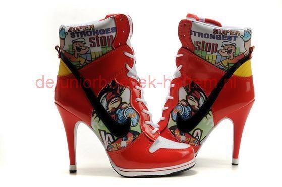 Nike Popeye De Sailor Man Vrouwen Sb Dunk Hoge Hak Oranje Wit Herziening Nike Sneakers