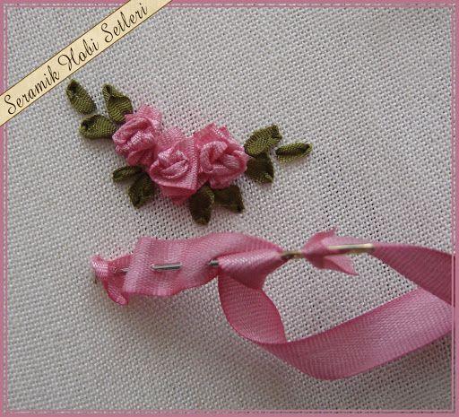 Series of ribbon rose tutorials