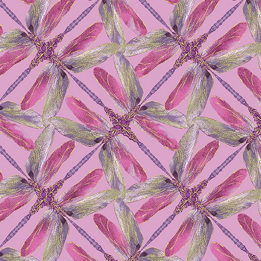 8502M-06 Pinwheel Geo Lilac Exquisite printing, beautiful colours and design, lovely theme - Dance of the Dragonfly has all the makings of a fabric classic. The printing is truly extraordinary with very fine gold accents - so difficult to achieve! Dragonflies flit among the waterlilies, or fly in a night sky filled with stars. in two luscious coloorways: blue/green and gold/purple. Truly beautiful. 100 % cotton, Juberry Fabrics supply in long quarters of a metre but for lon...