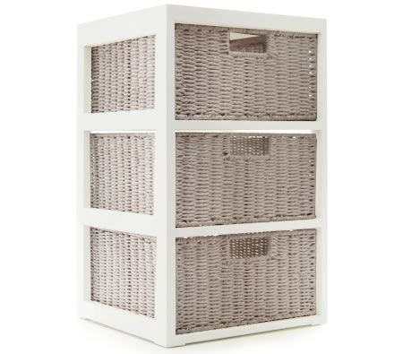 Chest of Drawers with 3 Storage Basket Drawers - Light Brown
