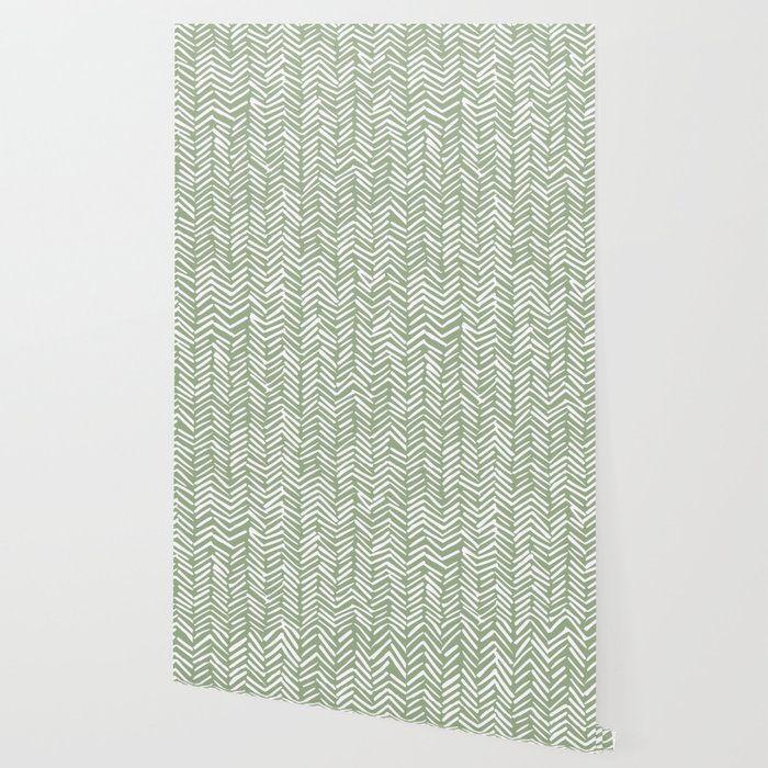 Boho Herringbone Pattern Sage Green And White Wallpaper By Megan Morris 2 X 4 Sage Green Wallpaper White Wallpaper Herringbone Pattern