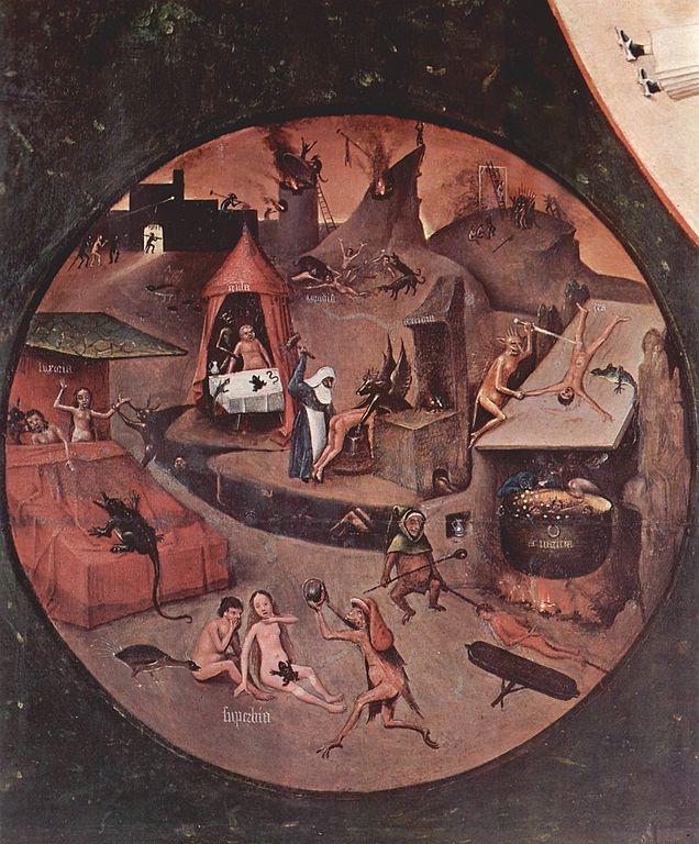 Mesa de los siete pecados capitales. Las postrimerías: El infierno.