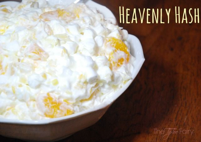 This is an old family recipe that takes me back to childhood. Heavenly Hash is something we always serve at Thanksgiving and Christmas dinners.