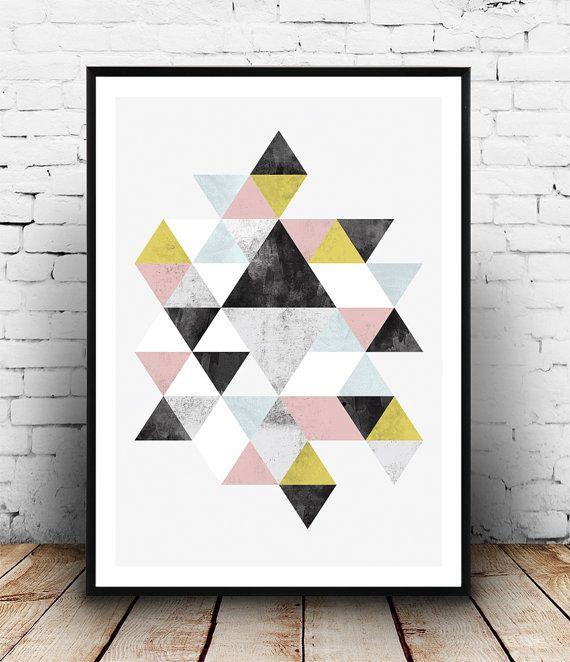 Geoemtric impression, Abstract poster, aquarelle print, impression scandinave, triangel décalque, art minimaliste, décoration, art pariétal, au milieu du siècle