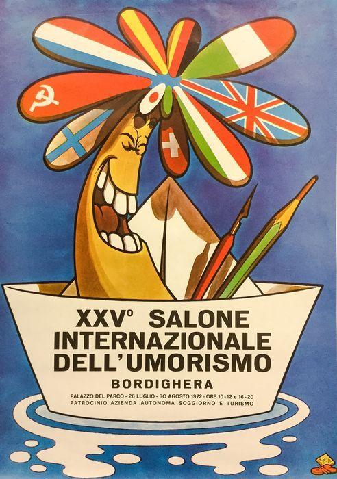 """Jacovitti, Benito - poster """"Bordighera 25° Salone dell'Umorismo"""" - (1972) - W.B."""