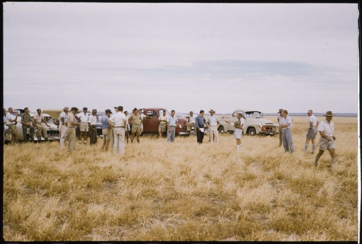 082162PD: Field day discussing deferred grazing on grass plains, Cherrabun Station, ca. 1955 https://encore.slwa.wa.gov.au/iii/encore/record/C__Rb3522060