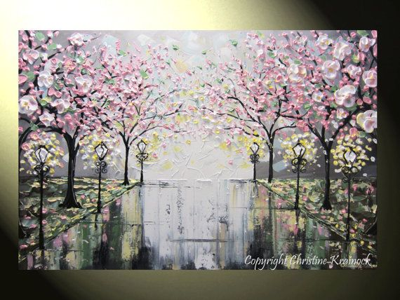 Original #Art Abstract #Painting Pink White Cherry Tree Blossoms Flowers Trees Rain Park Lights Palette Knife Modern Contemporary Paintings by #Artist Christine Krainock