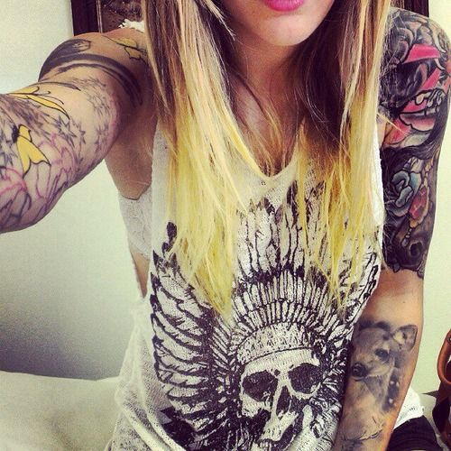 Girl with sleeve tattoos art inspiration pinterest for Girls with badass tattoos