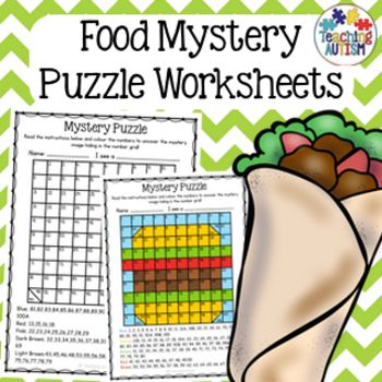 food mystery puzzle number grid activities students and