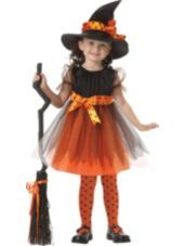 Toddler Girls Orange Charmed Witch Costume-Party City