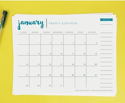 Clean and simple 2018 calendar